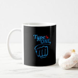 Caneca De Café Diabetes preto do tipo um - Tipografia-Diabético