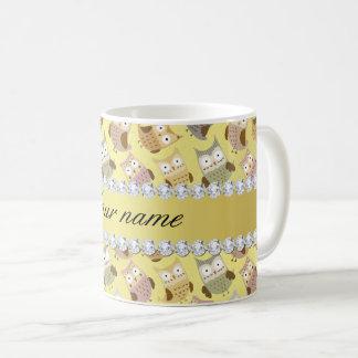 Caneca De Café Diamantes chiques de Bling da folha de ouro do