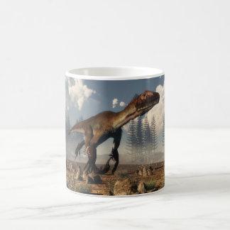 Caneca De Café Dinossauro de Utahraptor no deserto - 3D rendem