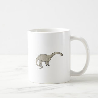 Caneca De Café Dinossauro do Brontosaurus que olha abaixo da mono