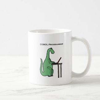 Caneca De Café Dinossauro engraçado do programador de COBOL