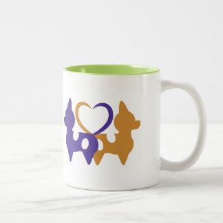 Caneca de café do amor de filhote de cachorro