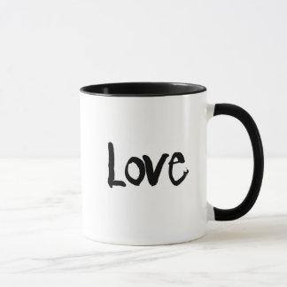 caneca de café do amor e do coração de dois tons
