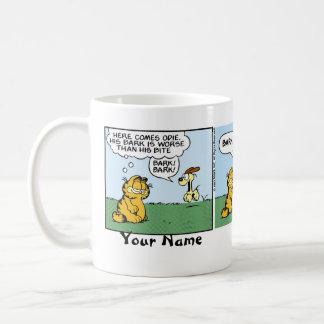 """Caneca De Café Do """"banda desenhada de Garfield da respiração cão"""""""