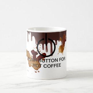 Caneca de café do botão do poder