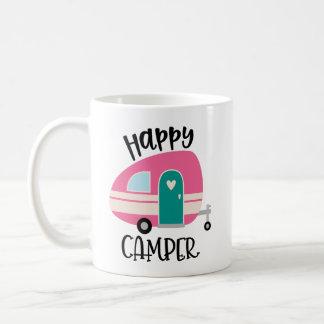 Caneca de café do campista feliz
