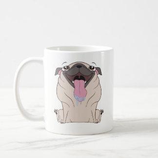 Caneca de café do cão do Pug dos desenhos animados