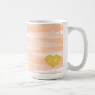 Caneca de café do casal cor-de-rosa da aguarela