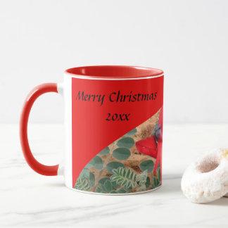 Caneca de café do Feliz Natal - vermelho