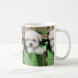 Caneca de café do filhote de cachorro de Maltipoo