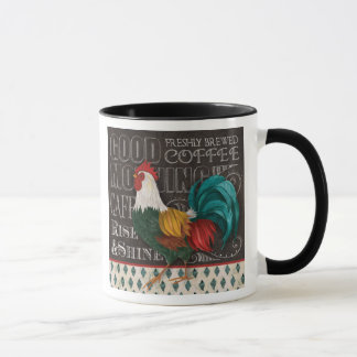 Caneca de café do galo do bom dia