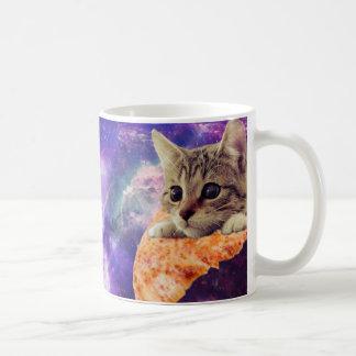 Caneca de café do gato da pizza do espaço
