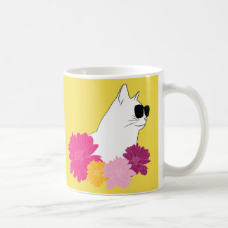 """Caneca De Café Do """"gato verão"""" com sunglass e flores da coloração"""