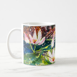 Caneca de café do impressão da aguarela da lagoa
