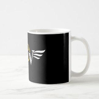 Caneca de café do logotipo da asa do café do vício