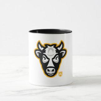 Caneca de café do logotipo da cabeça da vaca de