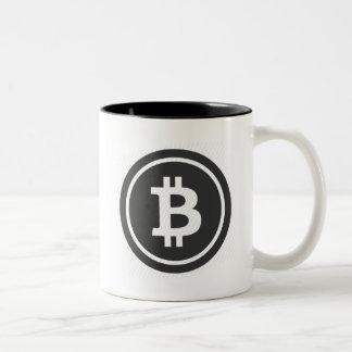 Caneca de café do logotipo de Bitcoin