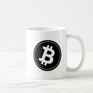 Caneca de café do logotipo de Bitcoin