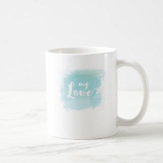 """Caneca De Café Do """"luz bonito meu amor"""" - caligrafia azul da"""