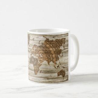Caneca de café do mapa do mundo