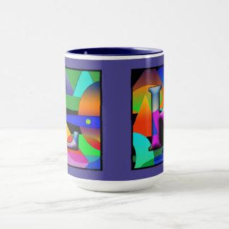 Caneca de café do monograma de L e de K no