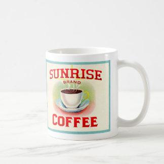 Caneca de café do nascer do sol do vintage