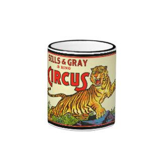 Caneca de café do poster do circo do vintage com
