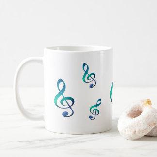 Caneca de café do símbolo de música do Clef de G