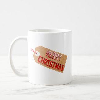 Caneca de café do Tag do presente do Feliz Natal