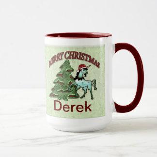 Caneca de café do unicórnio do Natal do