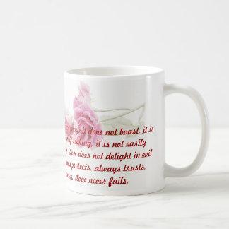 Caneca de café do verso da bíblia dos Corinthians