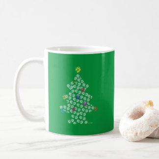 Caneca De Café Dog Paw Christmas Tree