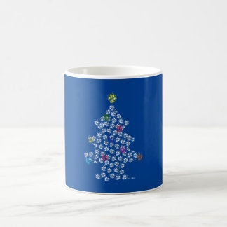 Caneca De Café Dog Paw Christmas Tree