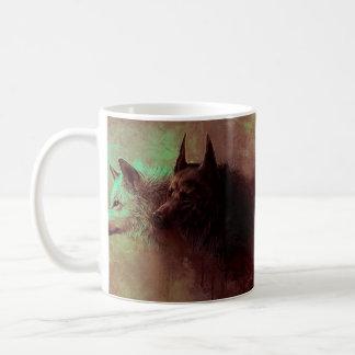 Caneca De Café dois lobos - lobo da pintura