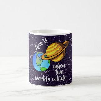 Caneca De Café Dois mundos colidem
