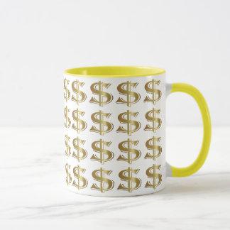 Caneca de café dourada do sinal de dólar