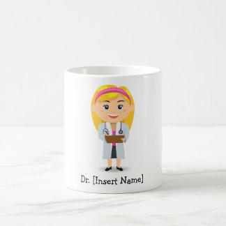 Caneca De Café Doutor fêmea louro personalizado