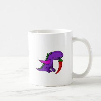 Caneca De Café Dragão roxo engraçado que come desenhos animados