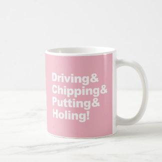 Caneca De Café Driving&Chipping&Putting&Holing (branco)