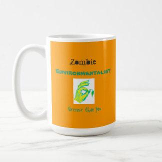 Caneca De Café Ecologista do zombi, mais verde do que você,