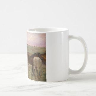 Caneca De Café Edgar Degas - cavalos em um prado