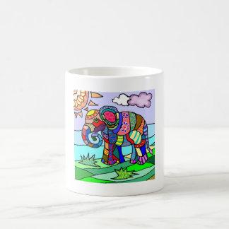 Caneca De Café Elefante vibrante colorido da flor do abstrato da