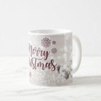 Caneca De Café Elegante, bolas do Natal, Bokeh Glittery