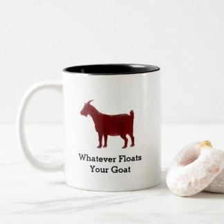 Caneca De Café Em Dois Tons A aguarela vermelha da cabra flutua sua cabra