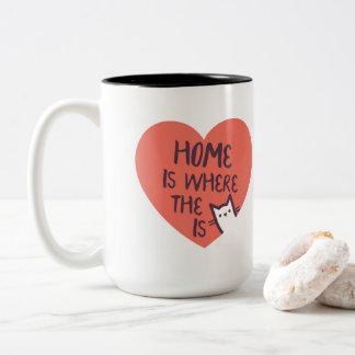 Caneca De Café Em Dois Tons A casa é o lugar onde o gato está