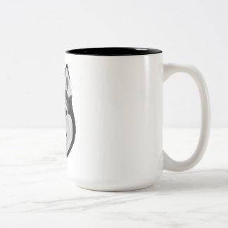 Caneca De Café Em Dois Tons A ilustração persegue o rouco Siberian da cara