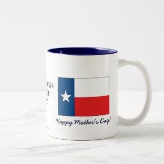 Caneca De Café Em Dois Tons A mãe de Texas é o dia das melhor-Mães+Bandeira