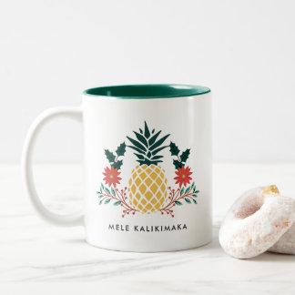 Caneca De Café Em Dois Tons Abacaxi havaiano do Natal de Mele Kalikimaka |