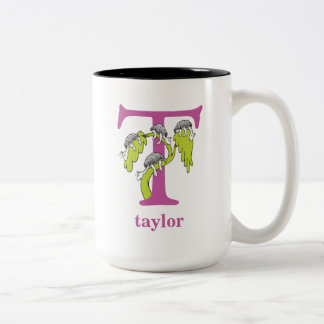 Caneca De Café Em Dois Tons ABC do Dr. Seuss: Letra T - O roxo   adiciona seu