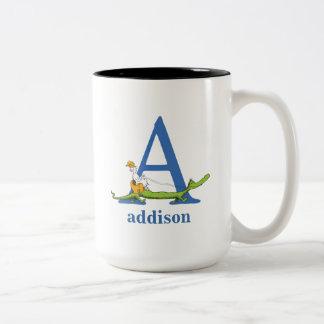 Caneca De Café Em Dois Tons ABC do Dr. Seuss: Rotule A - O azul | adiciona seu
